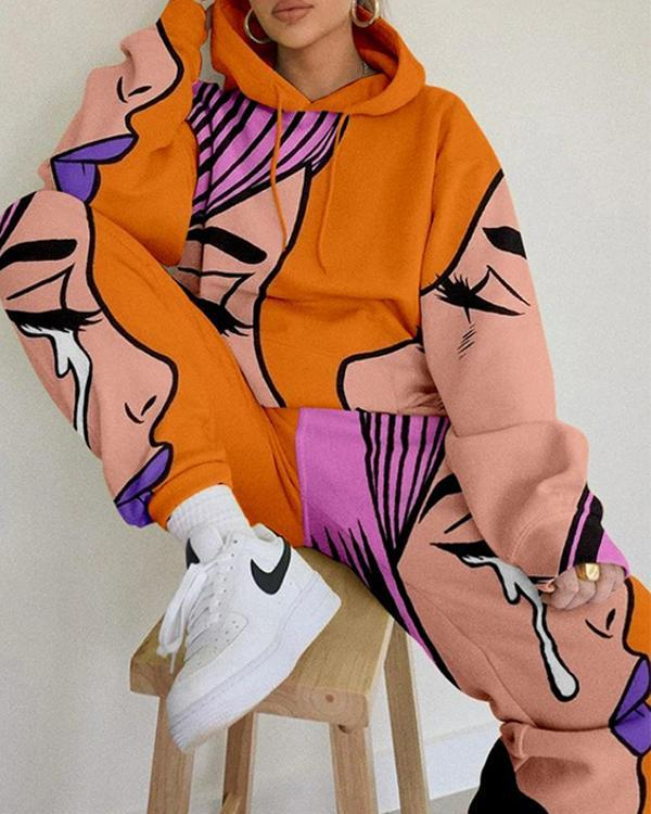 Printing Chic Hooded Sweatshirt And Sweatpant Set