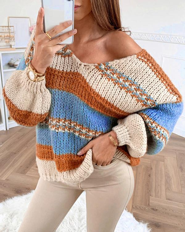 Casual Loose Colorful Knitted Sexy V-Neck Sweater
