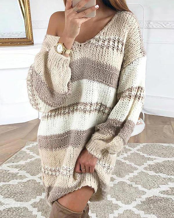 Multicolor Color Block Cable Knit Sweater Dress