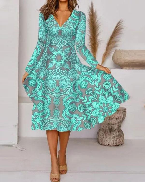 Elegant Floral V-Neckline Knee-Length X-line Dress
