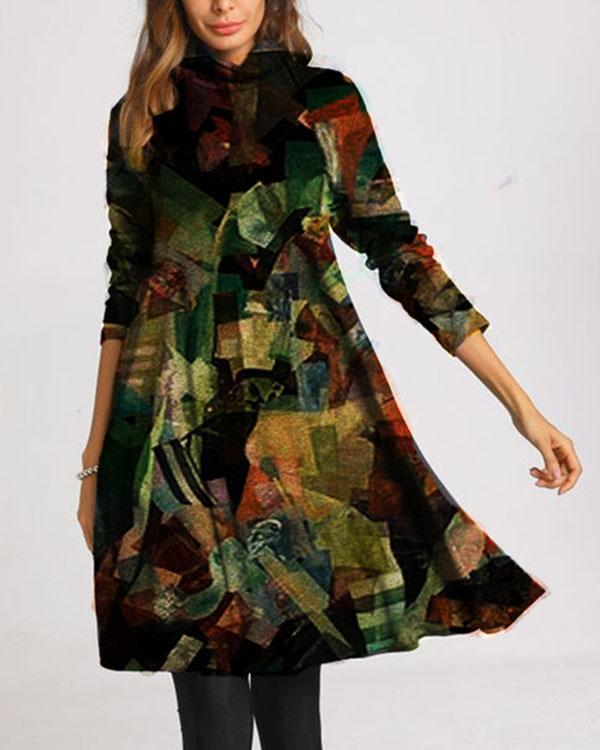 Casual Color Block Tunic Turtleneck A-line Dress