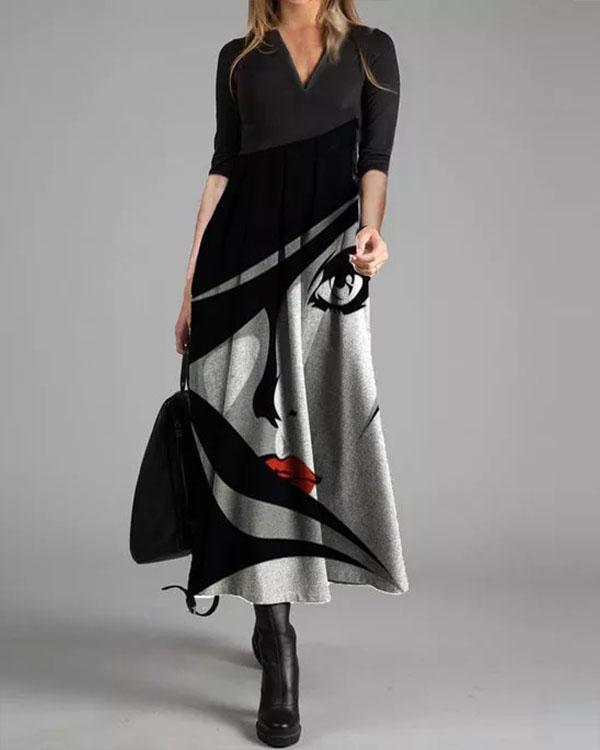 Elegant Gowns Character Print Maxi X-line Dress