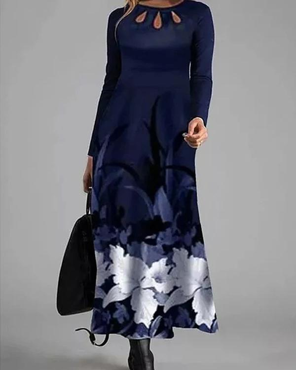 Elegant Gowns Floral Hollow Out Maxi X-line Dress