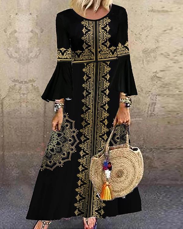 Vintage Print Round Neckline Flare Sleeve Maxi X-line Dress