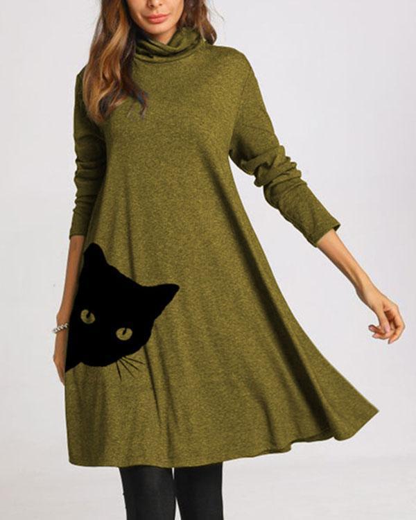 Cat Print Long Sleeve A-line Dresses