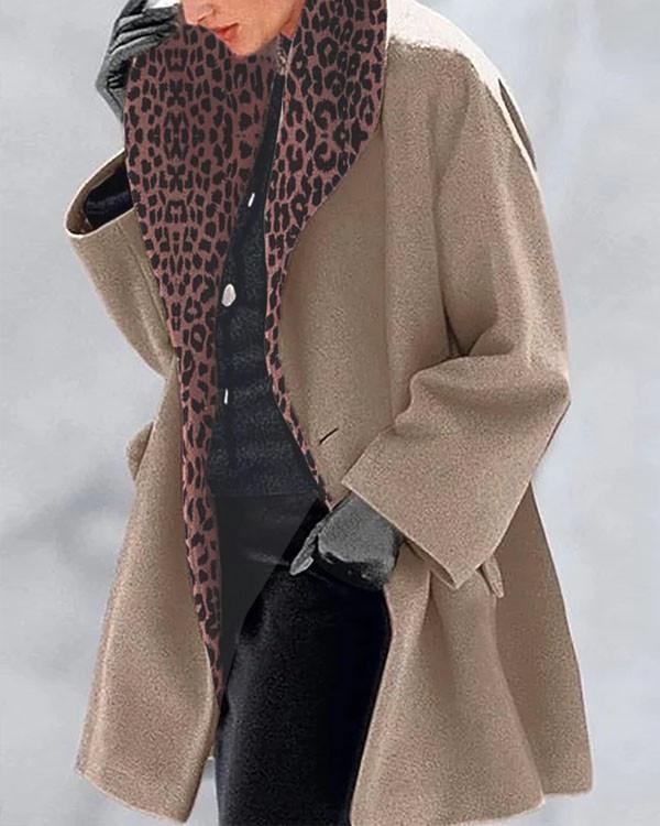 Vintage Leopard Print Lining Solid Overcoat