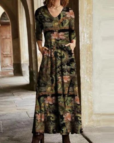 Boho Floral V-Neckline Maxi X-line Long Sleeve Dress
