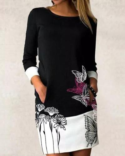 Casual Floral Shirt Round Neckline Shift Dress
