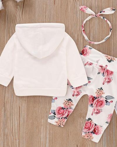 Beautiful Floral Long-sleeve Hoodie, Pants and Headband Set