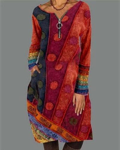 Casual Color Block Shirt V Neckline Shift Dress