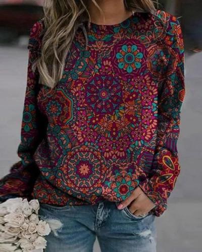 Round Neckline Vintage Print Casual Loose Regular Sweatshirt