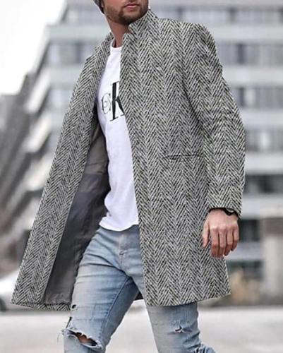 Mens Mid-length Suit Collar Jacket