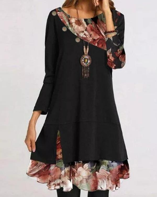 Casual Floral Round Neckline Above Knee Shift Dress