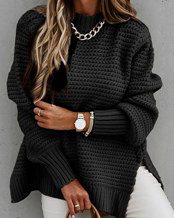 Women's Casual Trendy Loose Side-slit Sweaters