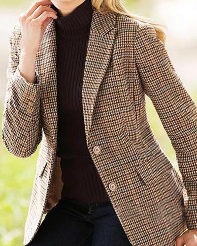 Plaid Jacquard Sheath Temperament Buttoned Lapel Collar Suit Coat