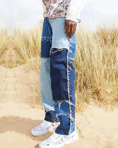 Men's Patchwork Corduroy Jeans