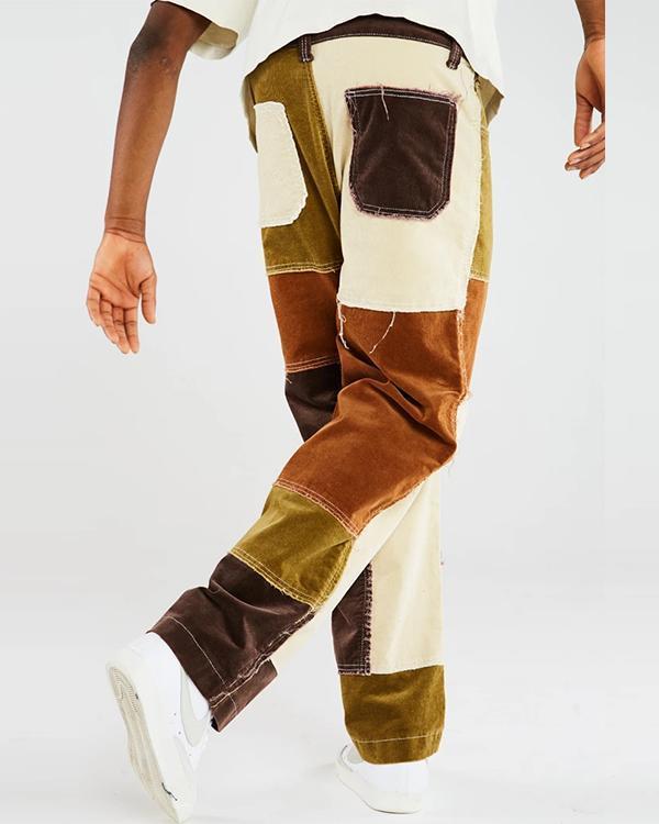 Men's Patchwork Corduroy Jeans