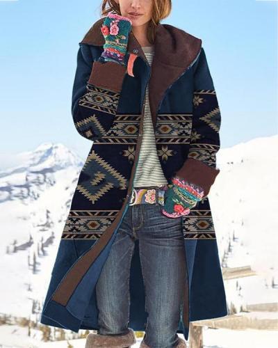 Women Vintage Print Button Long Sleeve Woolen Warm Coat