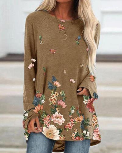 Women's Casual Floral Print Autumn T-Shirt