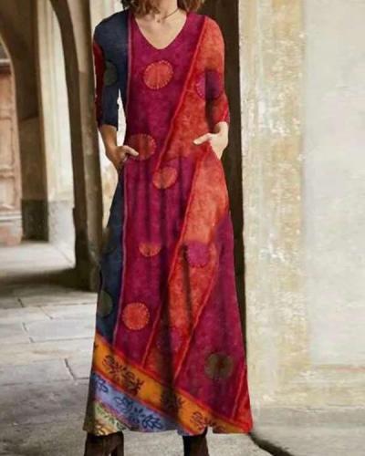 Casual Color Block Shirt Round Neckline Maxi Dress
