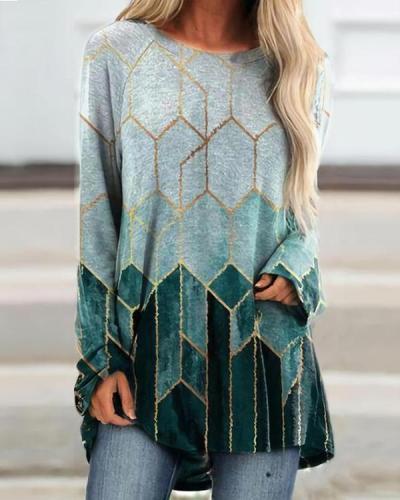 Women's Ombre Color Block Autumn T-Shirt