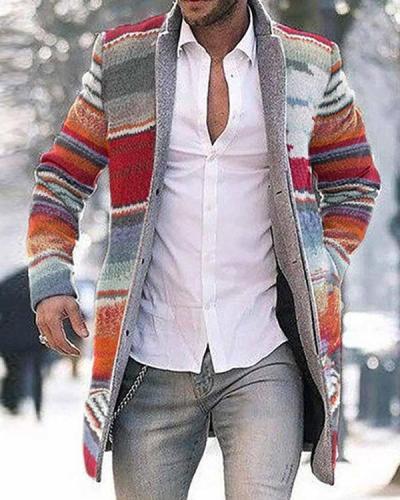 Men Fashion Business Rainbow Print Coat