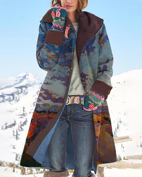 Women Vintage Print Button Long Sleeve Woolen Coat