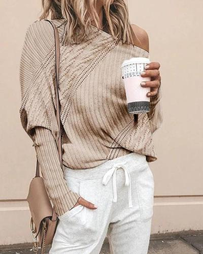 Women Sexy Off Shoulder Long Sleeve Sweater