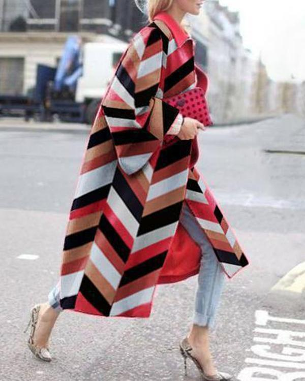 Women Stylish Color Block Contrast Long Coat