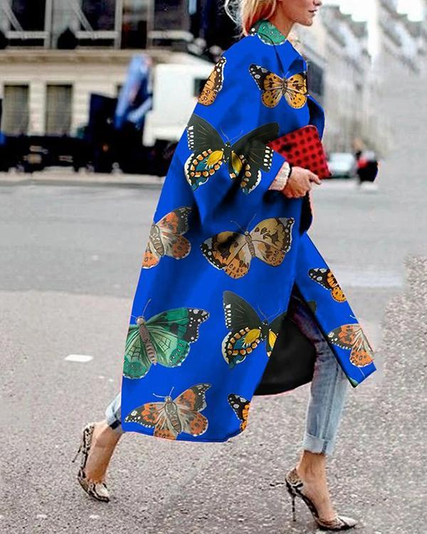 Women Vintage Butterfly Print Long Coat