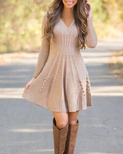 Solid Long Sleeves A-line Above Knee Little Black/Elegant Sweater/Skater Dresses