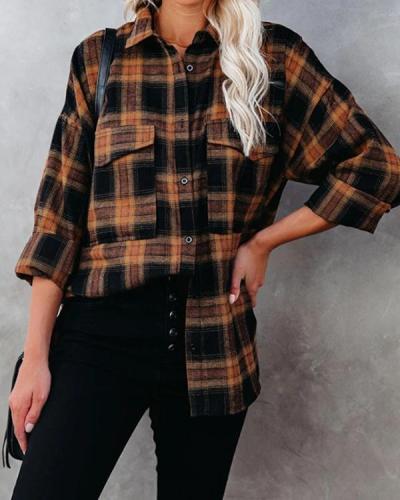 Turn-down Collar Checked Soft Shirt