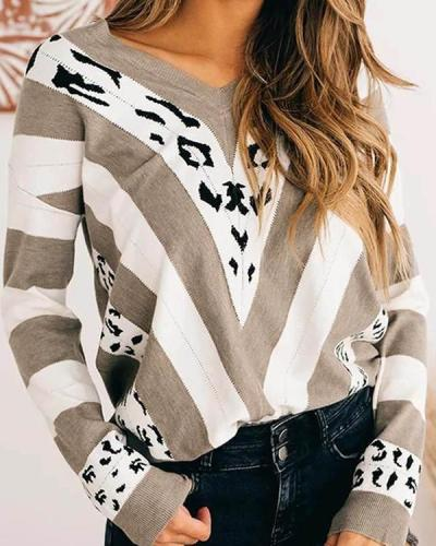 Women V-neck Striped Loose Color Block Sweater