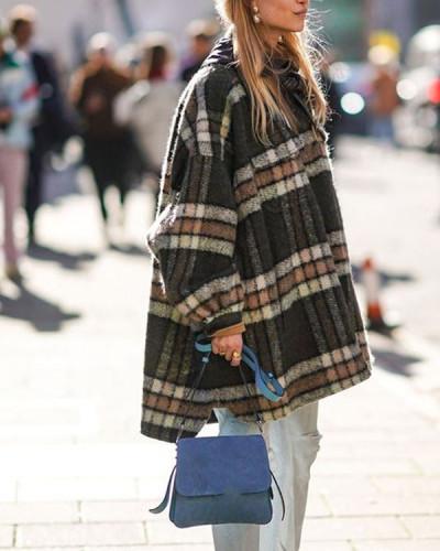 Women Cotton Plaid Pockets Winter Warm Overcoat