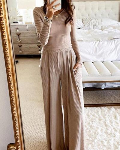 Solid Comfy Wide-Leg Pants Set