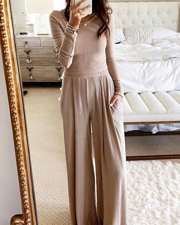 Solid Comfy Wide-Leg Pants Set