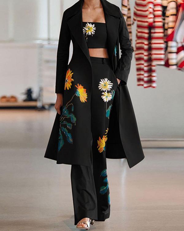 Women's Floral Print Fashion 3 Piece Sets