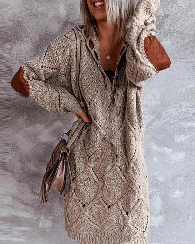 Color Block Long Sleeves Knitted Dress