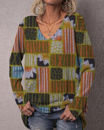 Color Block Print Casual V Neck Shirts & Tops