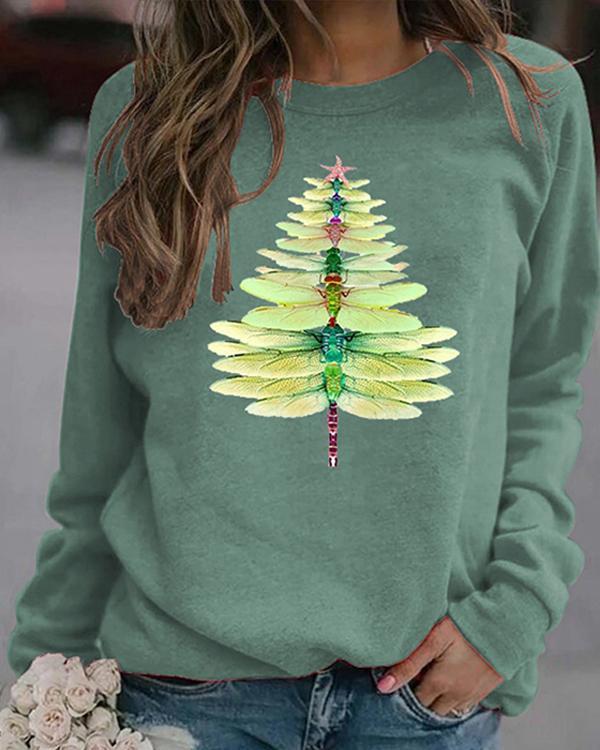 Christmas Dragonfly Print Sweatshirt