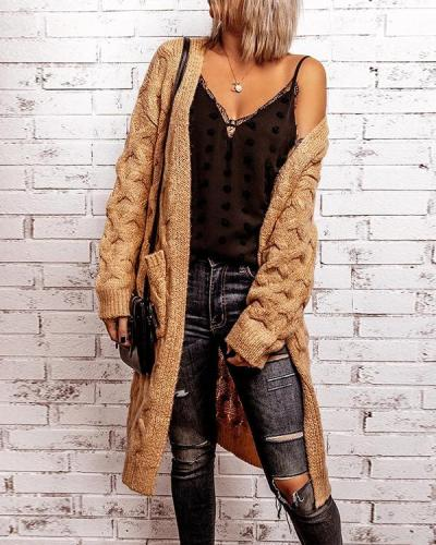 Solid Cable-knit Pockets Casual Long Cardigan