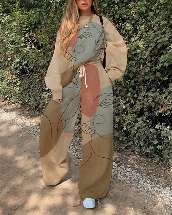 Ladies Casual Trendy Portrait Casual Pants Sweatshirt Suit