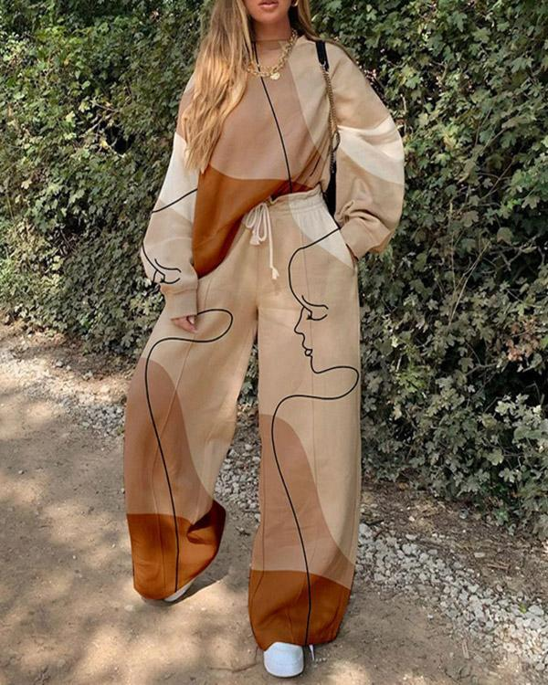 Ladies Casual Trendy Portrait Pants Sweatshirt Suit