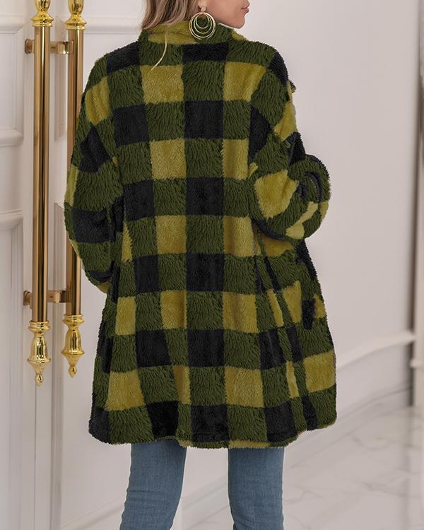 Women Cotton Plaid Fleece Warm Overcoat