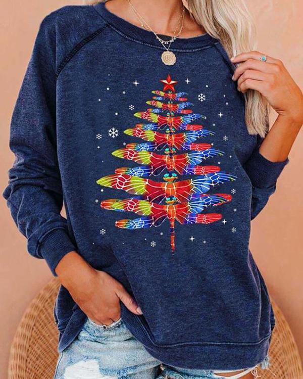 Christmas Tree Dragonfly Print Sweatshirt