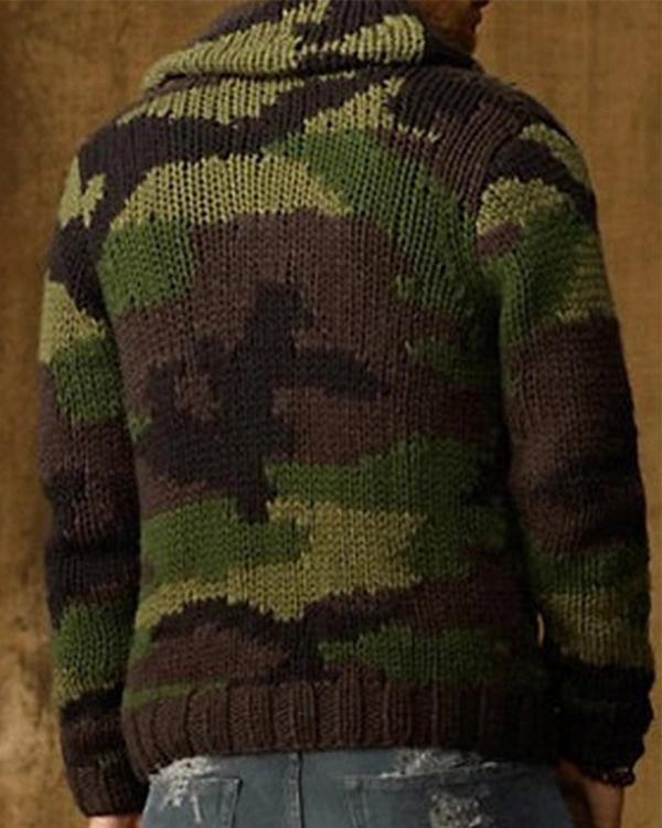 Men Turn-Down Collar Cardigan Autumn Winter Camouflage Comfortable Coat