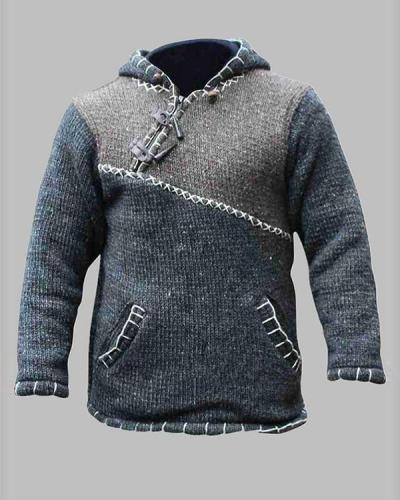 Color Block Pocket Hooded Vintage Straight Sweater
