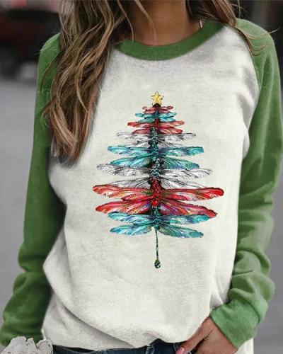 Color-block Lifelike Gradient Dragonfly Christmas Tree Print Raglan Sleeves T-shirt