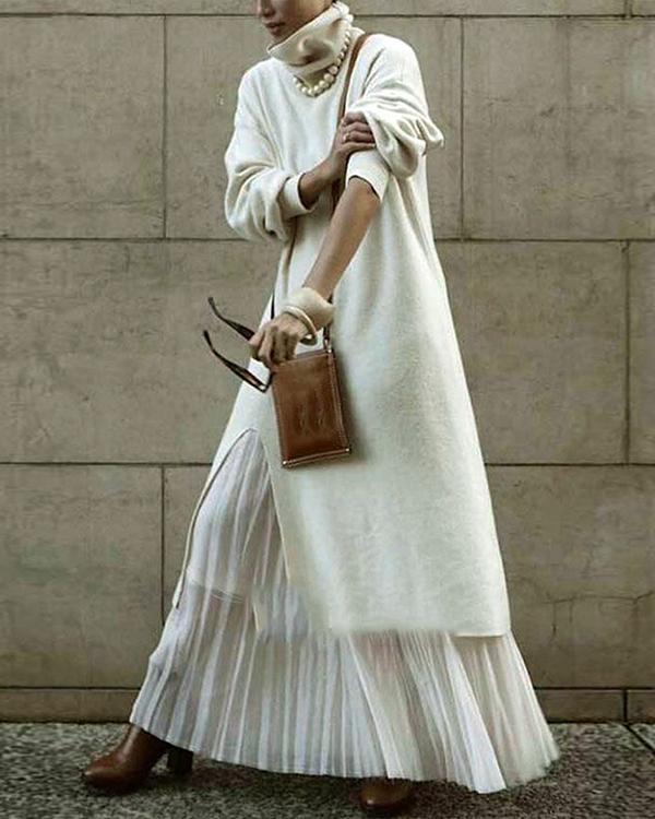 Casual Solid Shirt High Neckline Shift Dress
