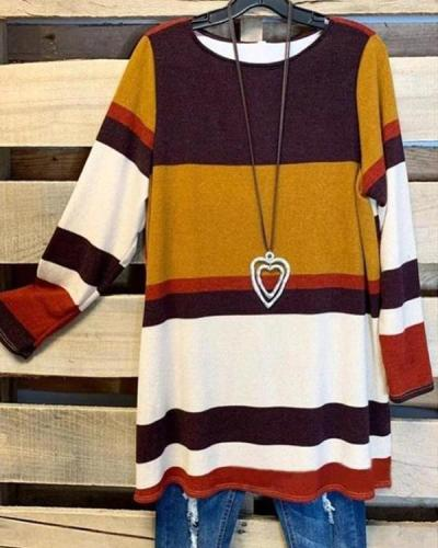 Women's Brown Stripe Plus Size T-shirt without Necklace